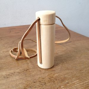 Wooden Box with tight fitting lid and leather necklace cord